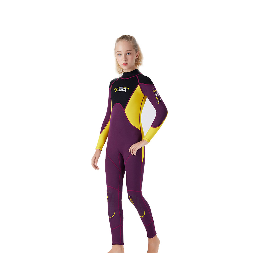 2.5mm Youth Kids Wetsuit Premium Neoprene Long Sleeve Youth Full Wetsuit Scuba Diving Surf Suit for Girls Boys Child Wine red_S