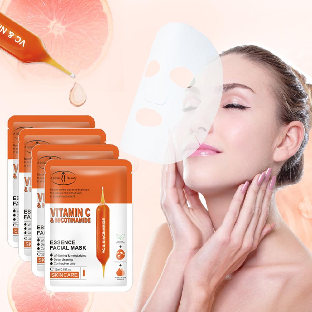 Facial Mask VC blood Orange nicotinamide Moisturizing First Aid Repair Fades Fine Lines Anti Wrinkle Facial Mask 25ml*10pcs