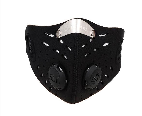 Men Women Anti-haze Mask Activated Carbon Dust-proof Cycling Face Mask Anti-pollution Training Bicycle Bike Outdoor Running Mask Face Shield black