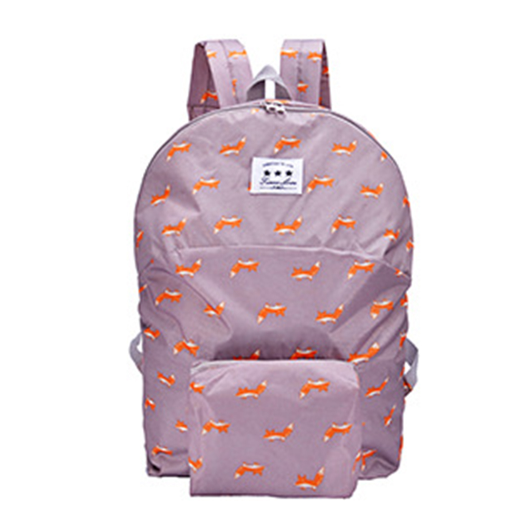 Boy Girl Folding Schoolbag Backpack Cartoon Animal Candy Color Lightweight Double Shoulder Bag Coffee fox