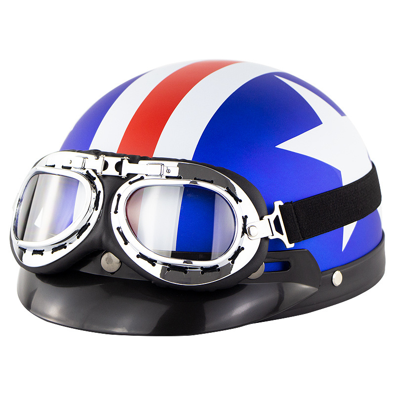 Unisex Cute Motorcycle Helmet Bike Riding Protective Strong Safety Half-face Helmet with Goggles Matte blue and white star_One size