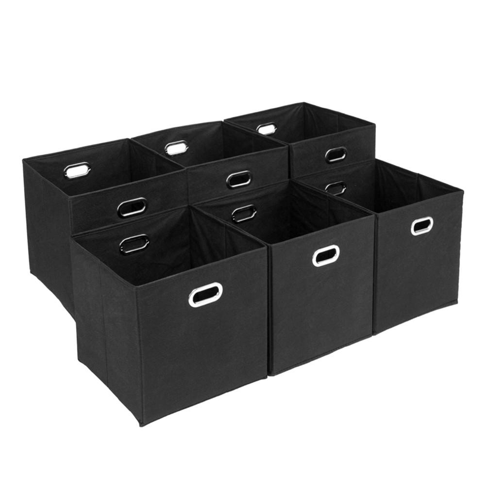[US Direct] 6pcs/set Storage  Box With Metal Handle Household Furniture Storage Bin Cube Black