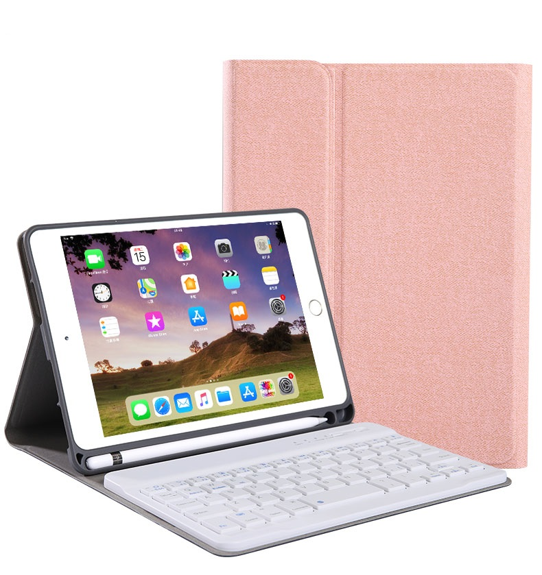 For iPad 10.2 Tablet Touch Keyboard Textured PU Leather Cover Wireless Bluetooth3.0 Connect Overall Protection Stand Function  rose gold_iPad 10.2 regular version