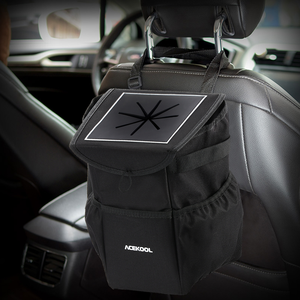 [US Direct] Acekool Portable Outdoor Leak Proof Car Trash Garbage Bag Can with Lid and Storage Pockets and Car Kick Mat