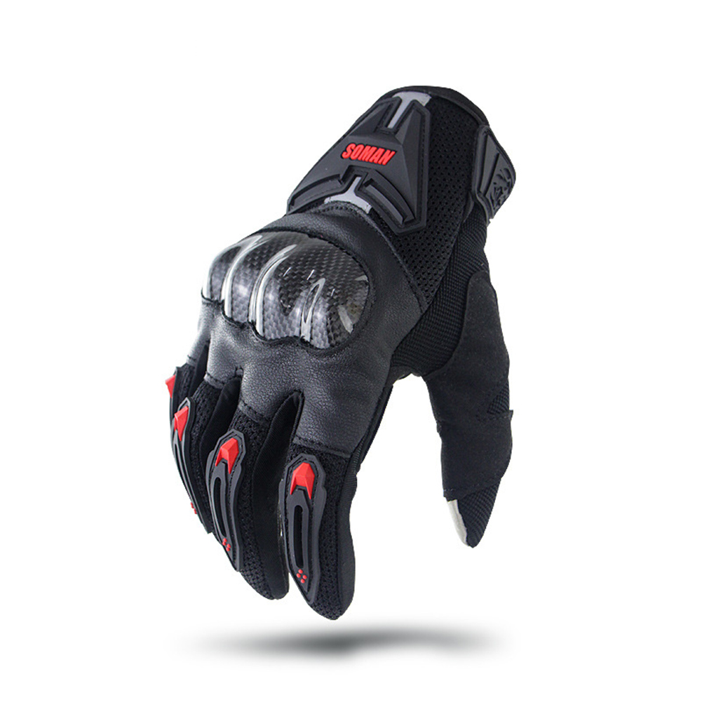 Motorcycle  Gloves Leather Moto Riding Gloves Motorbike Protective Gears red_L