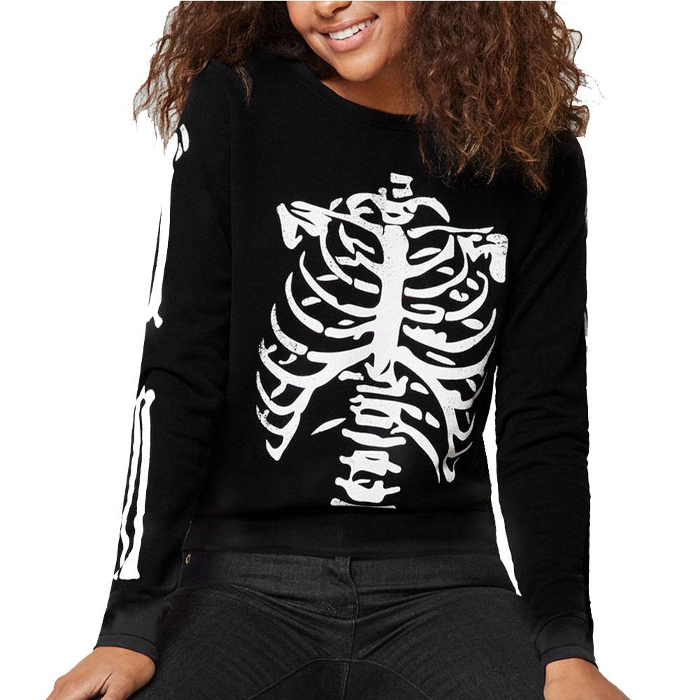 Unisex Halloween Long Sleeve T-shirt Scary Skeleton Loose Printing Fashion Tops black_S