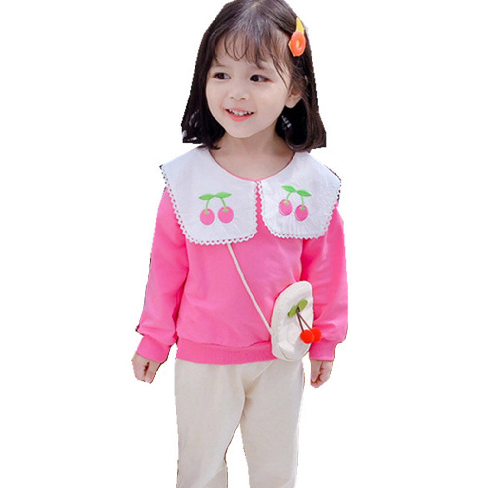 Kids Girls Cherry Long Sleeve Tops + Trousers for Spring Autumn Clothes Pink_100cm