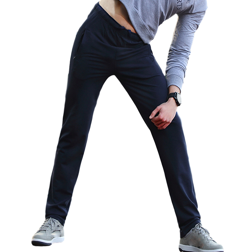 Men's Casual Pants Thin Type Cotton Loose Running Straight Sports Trousers Navy blue_M