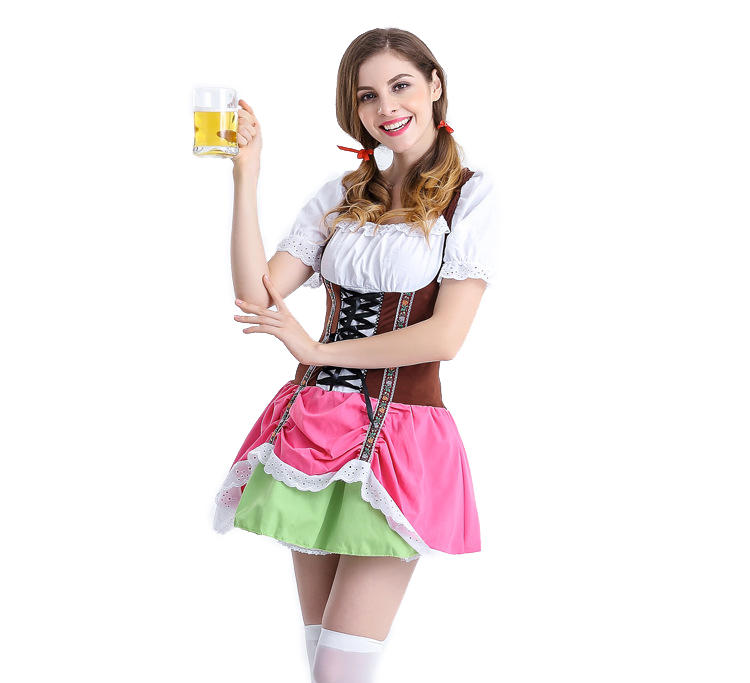 Women Fashion Maid Cosplay Oktoberfest Style Dress Costume Uniform for Halloween Rose pink_XL