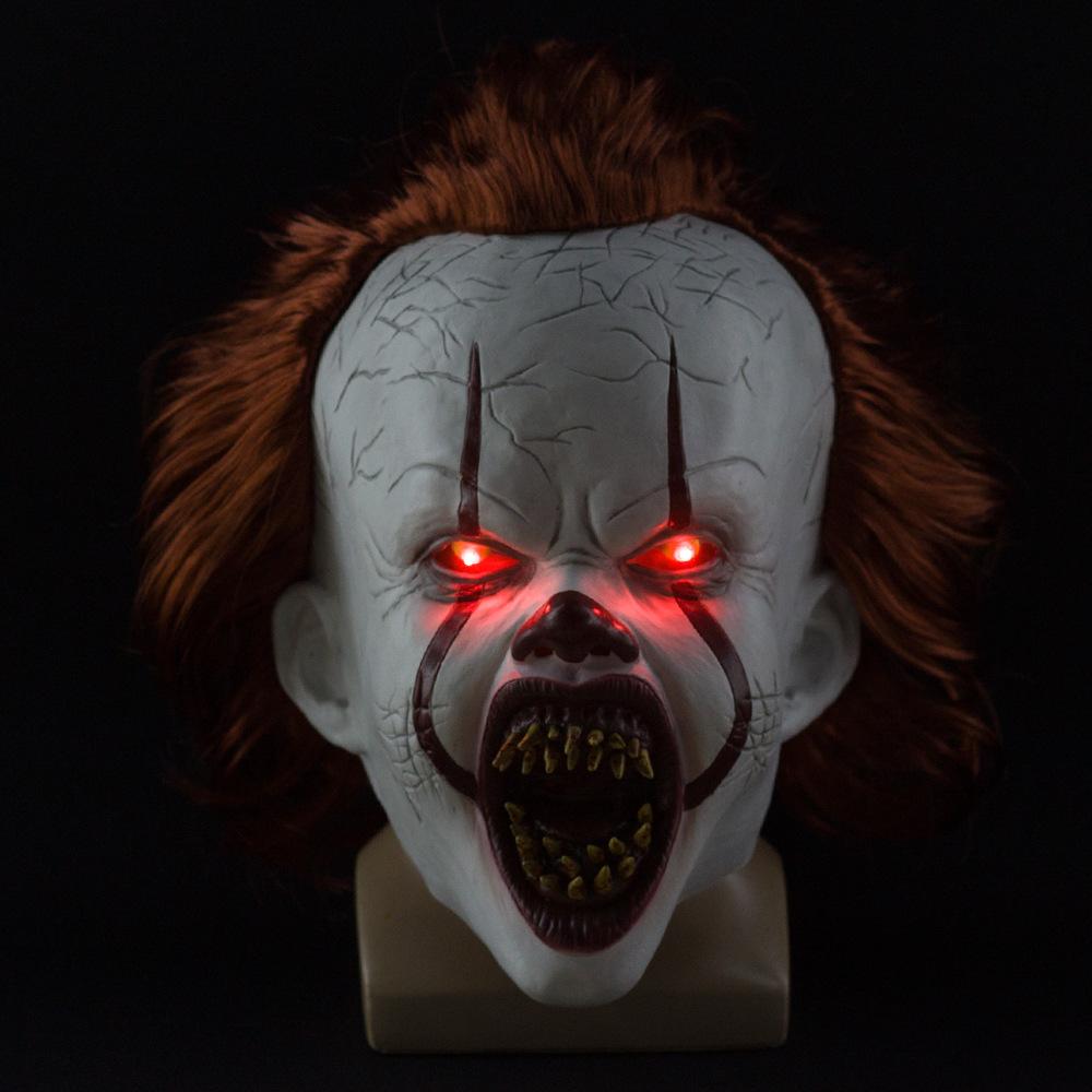 Horror Stephen King 2 Pennywise Clown Joker Mask Halloween Cosplay Costume Prop Dental light