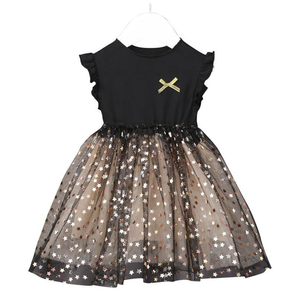 Kids Girls Dress Knitted Long Sleeve/Sleeveless Puffy Mesh Princess Dress sleeveless_110cm