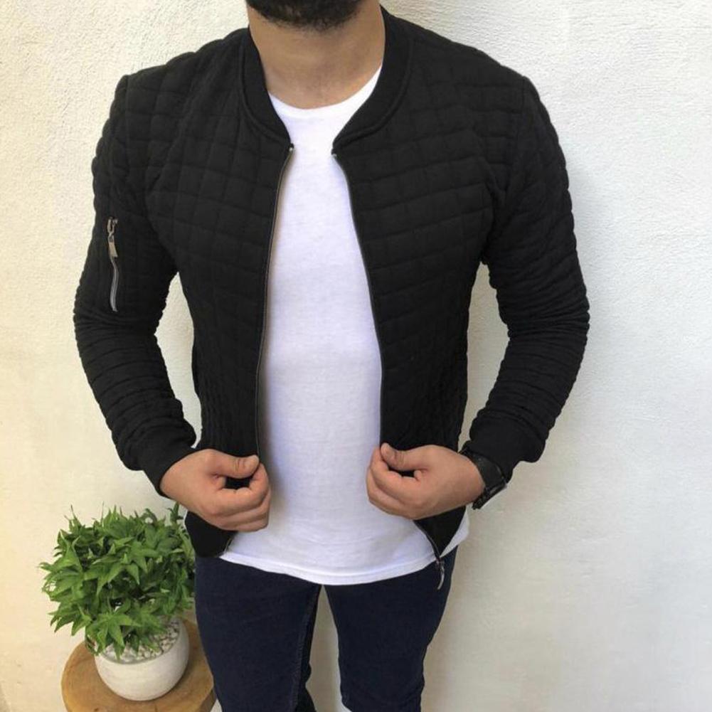 Slim Fit Jacket Leisure Sports Coat Men Casual Jacket black_L