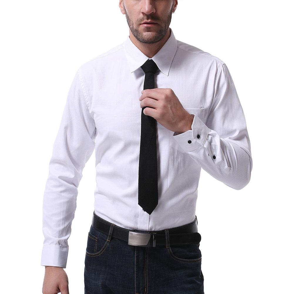 Men Casual Long Sleeve Formal Shirt Business Lapel Adults Tops White_XXL