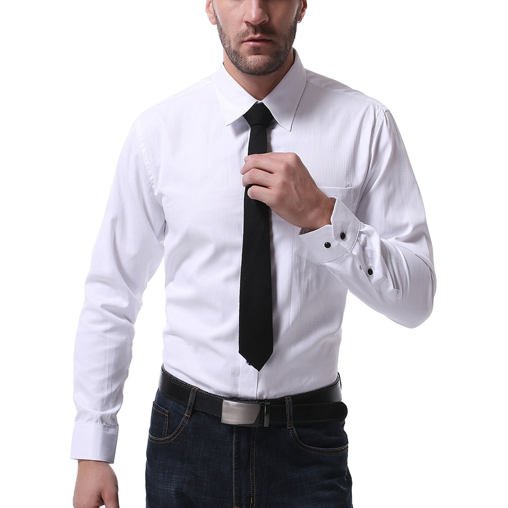 Men Casual Long Sleeve Formal Shirt Business Lapel Adults Tops White_L