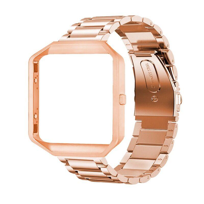 Stainless Steel Wrist Band Classic Bracelet Elegant Strap Frame for Fitbit Blaze Smart Watch  Rose gold