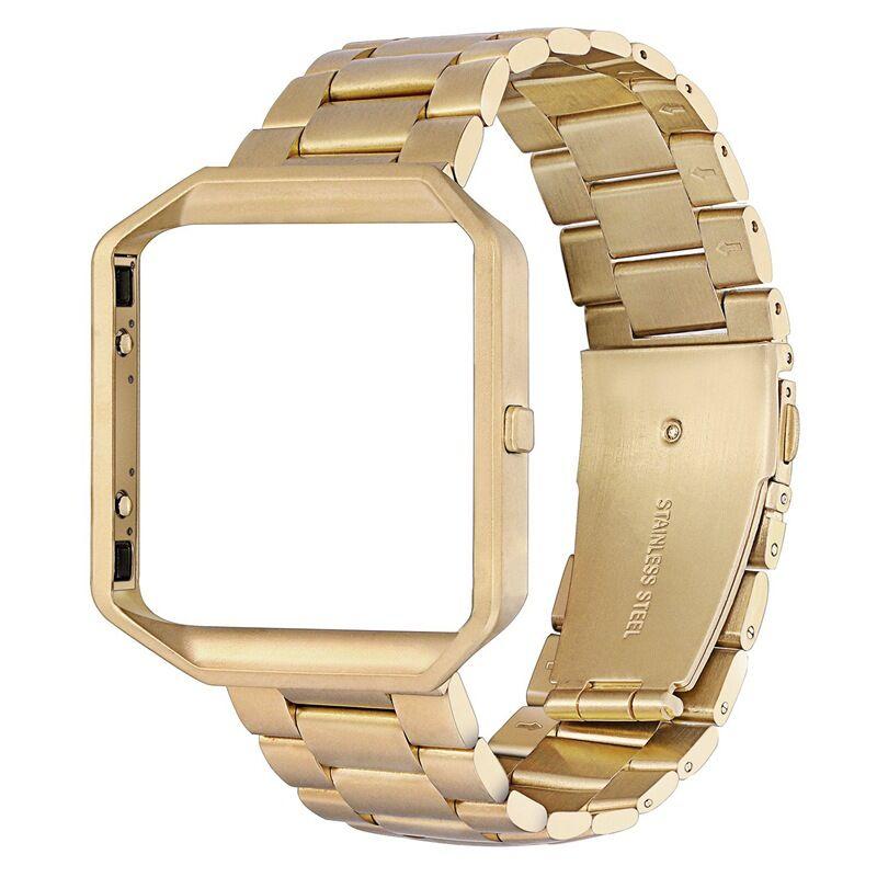Stainless Steel Wrist Band Classic Bracelet Elegant Strap Frame for Fitbit Blaze Smart Watch  Gold