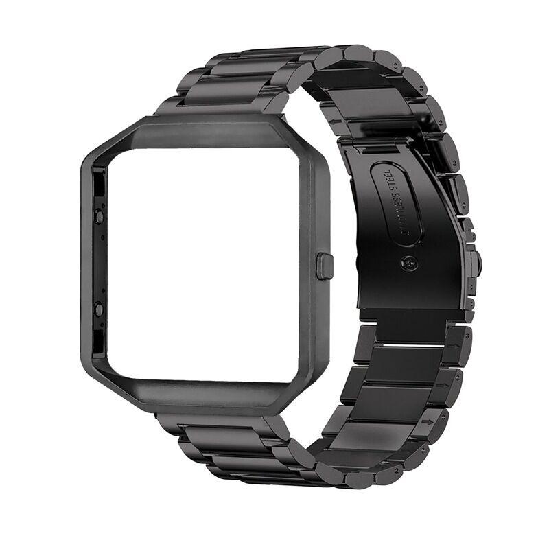 Stainless Steel Wrist Band Classic Bracelet Elegant Strap Frame for Fitbit Blaze Smart Watch  Black