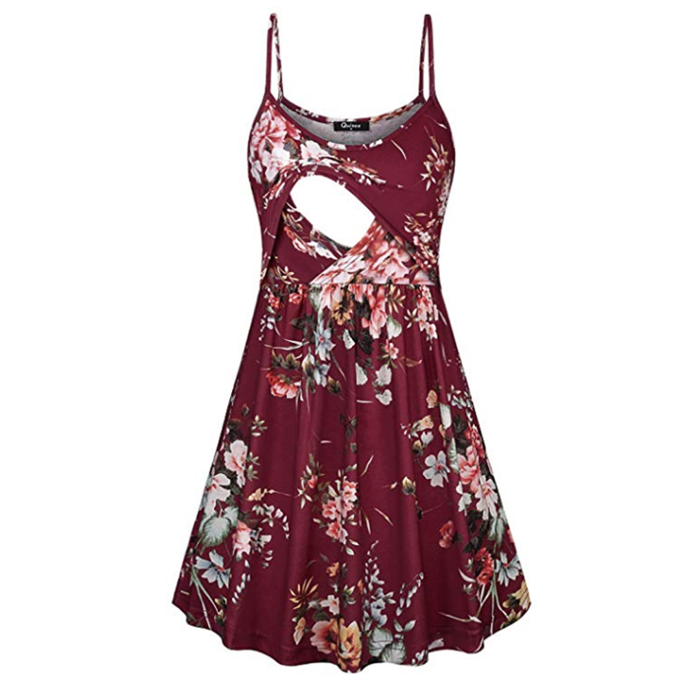 Fashion Flower Print Spaghetti Strap Nursing Maternity Dress for Breastfeeding Red wine_XL