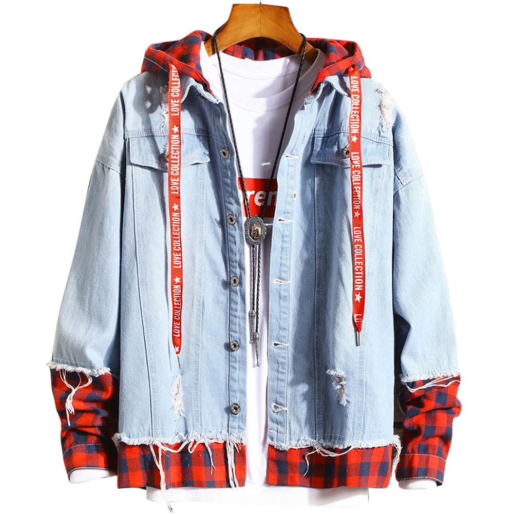 Men Fake Two Pieces Denim Jacket Plaid Short Fashion Coat  260 red plaid- light blue_XL