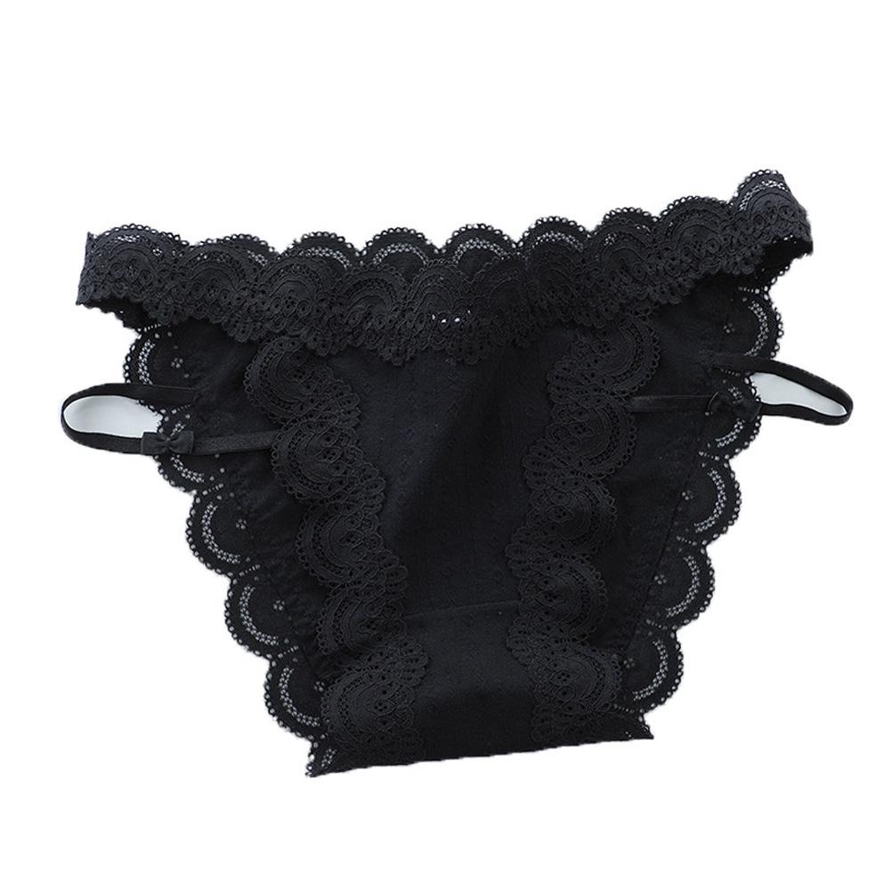 Women Sexy Briefs Lace Cotton Underwear Low Waist Panties Lady Lingerie Underpants black_One size