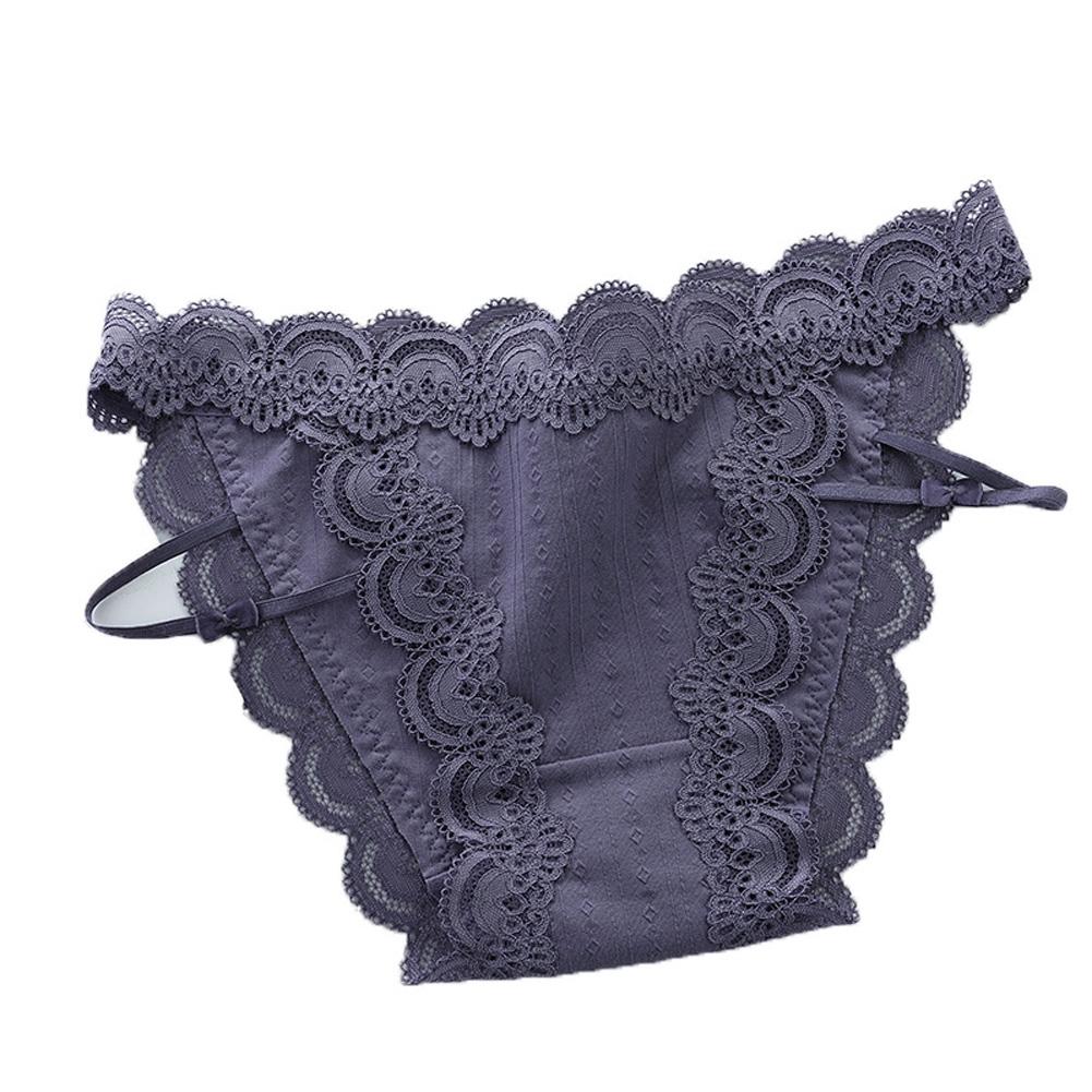 Women Sexy Briefs Lace Cotton Underwear Low Waist Panties Lady Lingerie Underpants gray_One size
