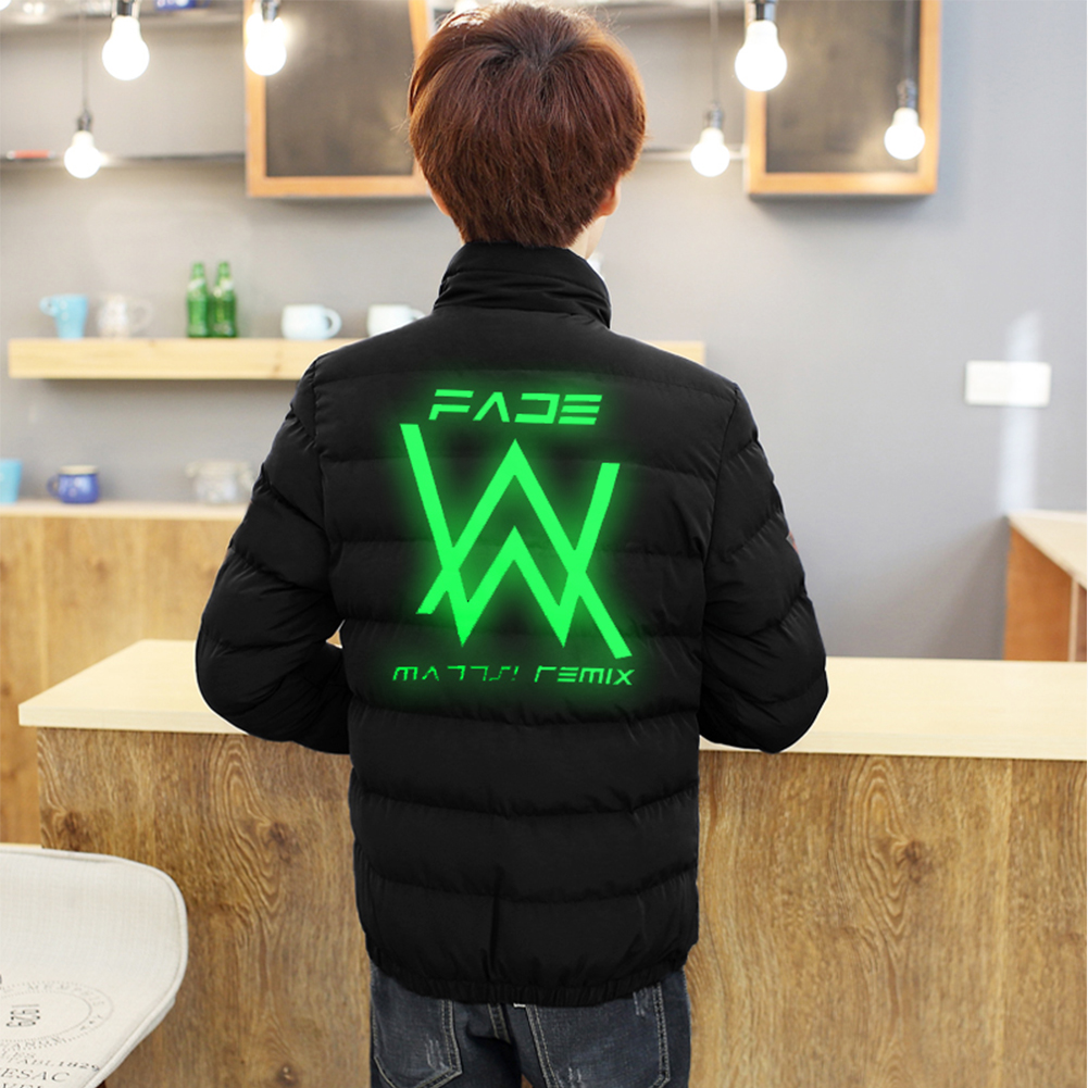 Men Women DJ Series Printing Zipper Coat Cotton Jacket Letter_L