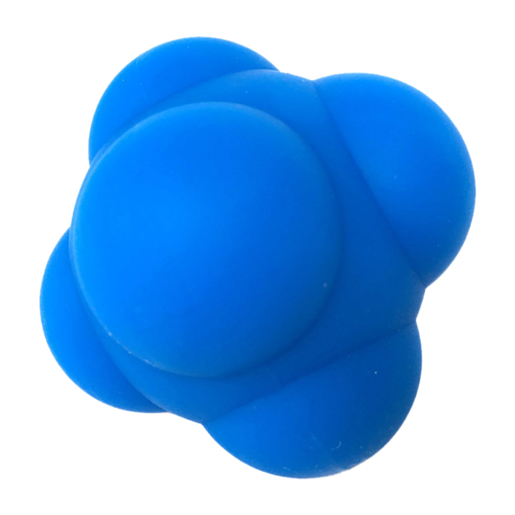 Silicone Hexagonal Reaction Ball Agility Coordination Reflex Exercise Sports Fitness Training Ball blue
