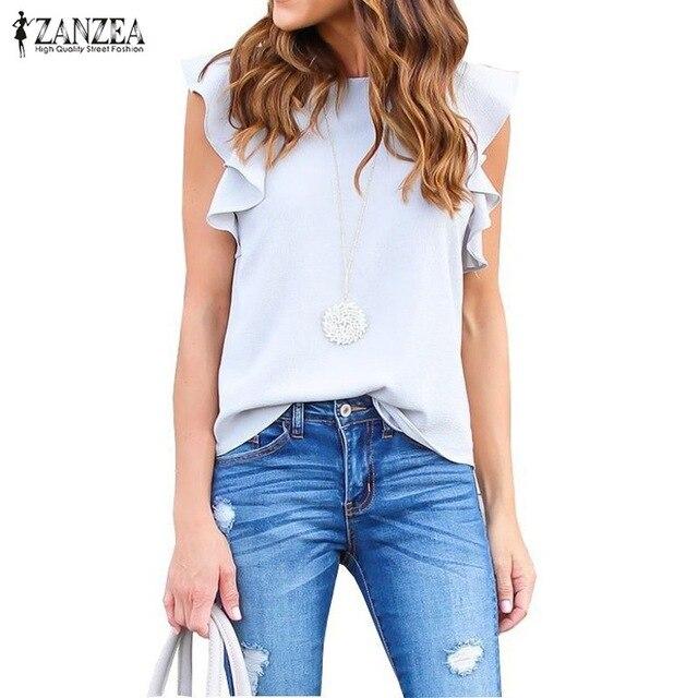 Femininas 2018 Summer  Women Sexy Blouse O Neck Sleeveless Ruffles Casual Solid Shirts Elegant Plus Size Tee Tops