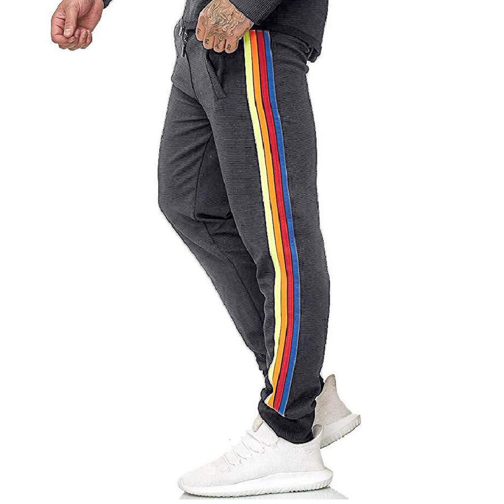 Men Casual Sports Pants Side Multi-color Ribbon Fashion Pants Trousers gray_M
