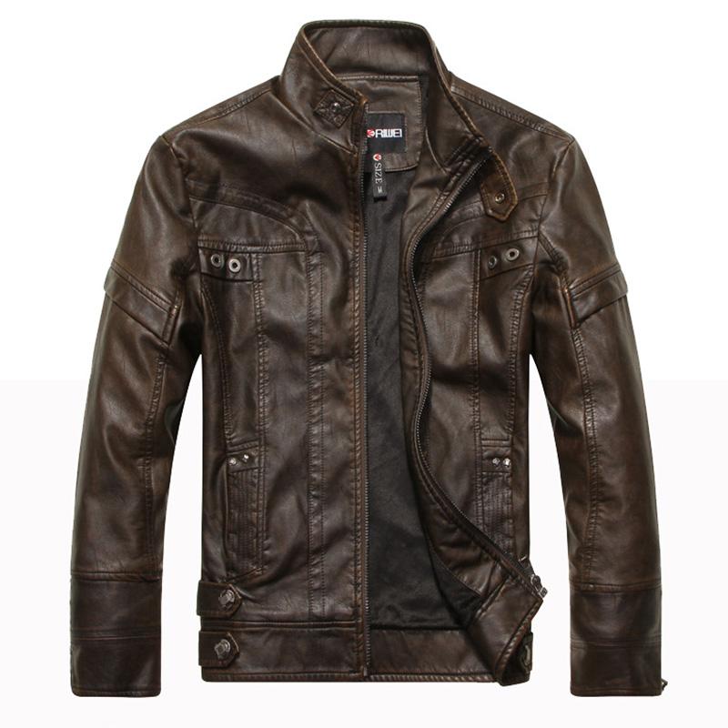 Men Motorcycle Leather Jacket Zipper Cool Fashionable Slim Fit PU Coat Top Coffee_XXL