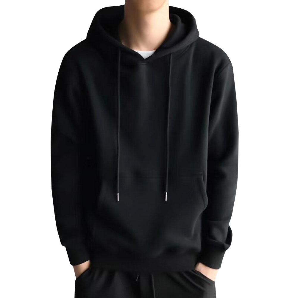 Men Kangaroo Pocket Plain-Colour Sweaters Hoodies for Winter Sports Casual  black_M
