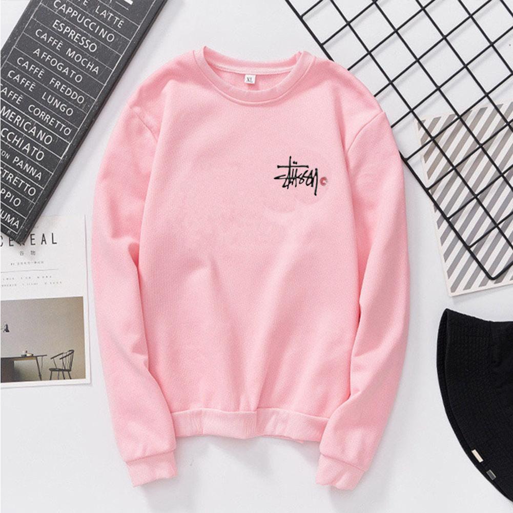 Women Men Long Sleeve Round Collar Loose Sweatshirts for Casual Sports  Pink_M