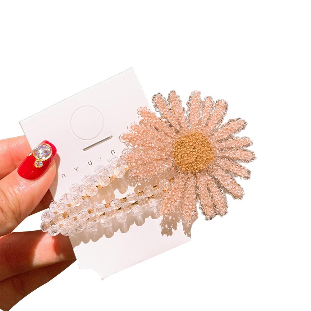 Girl Hair Clip Daisy Pattern Crystal Fresh Hairpin Cute Barrette Headwear Headdress Pink