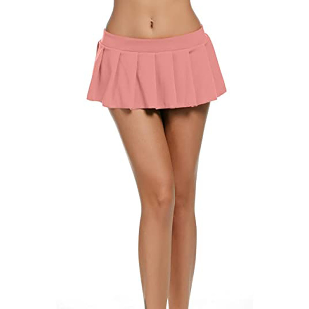 Women Sexy Role Play Pleated Mini Skirt Ruffle Lingerie for Schoolgirl  Pink_M