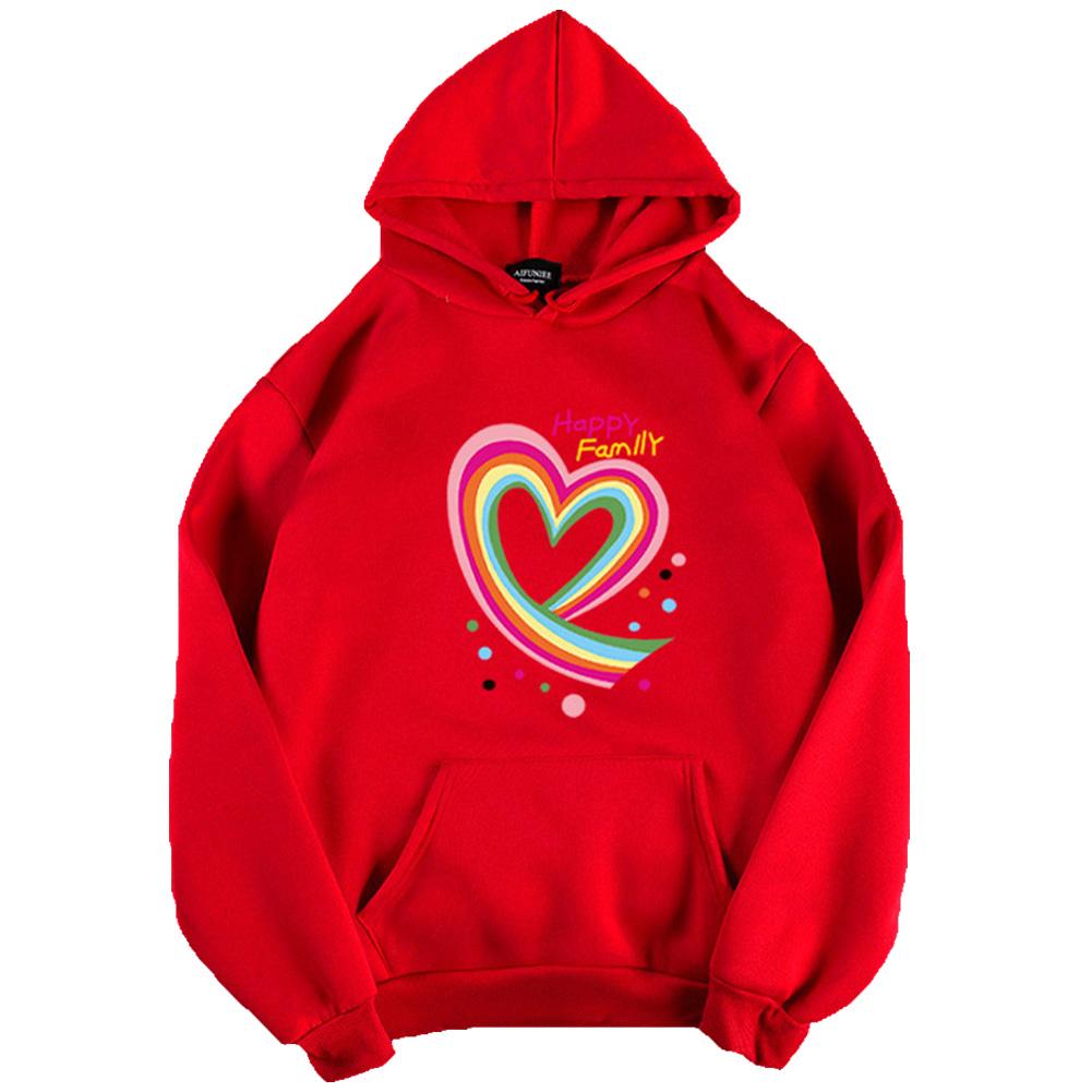 Men Women Hoodie Sweatshirt Happy Family Heart Thicken Loose Autumn Winter Pullover Tops Red_L