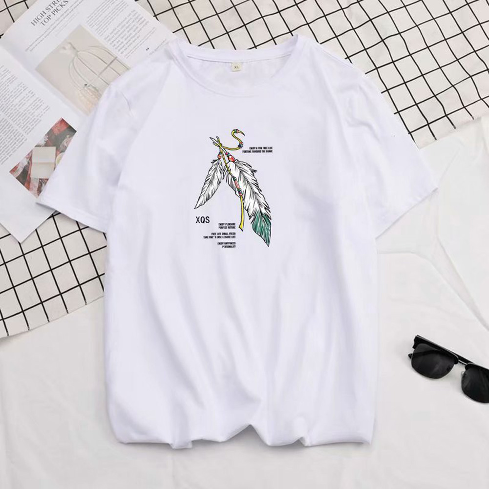 Short Sleeves and Round Neck Shirt with Feather Printed Leisure Top Pullover for Man 658 white_2XL