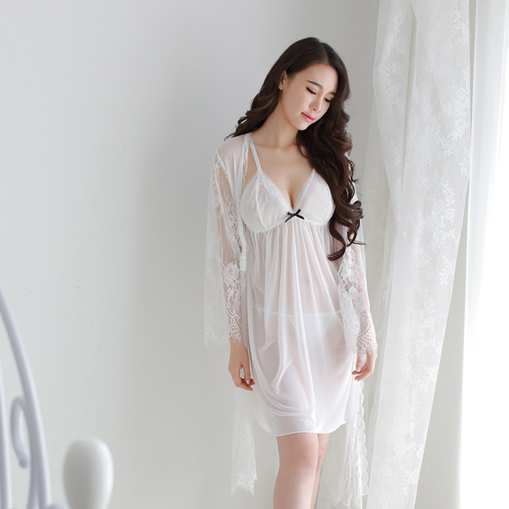 Lady See Through Lace Sling Nightdress + Night Gown + Briefs Sexy Temptation Lingerie Sleepwear white_One size