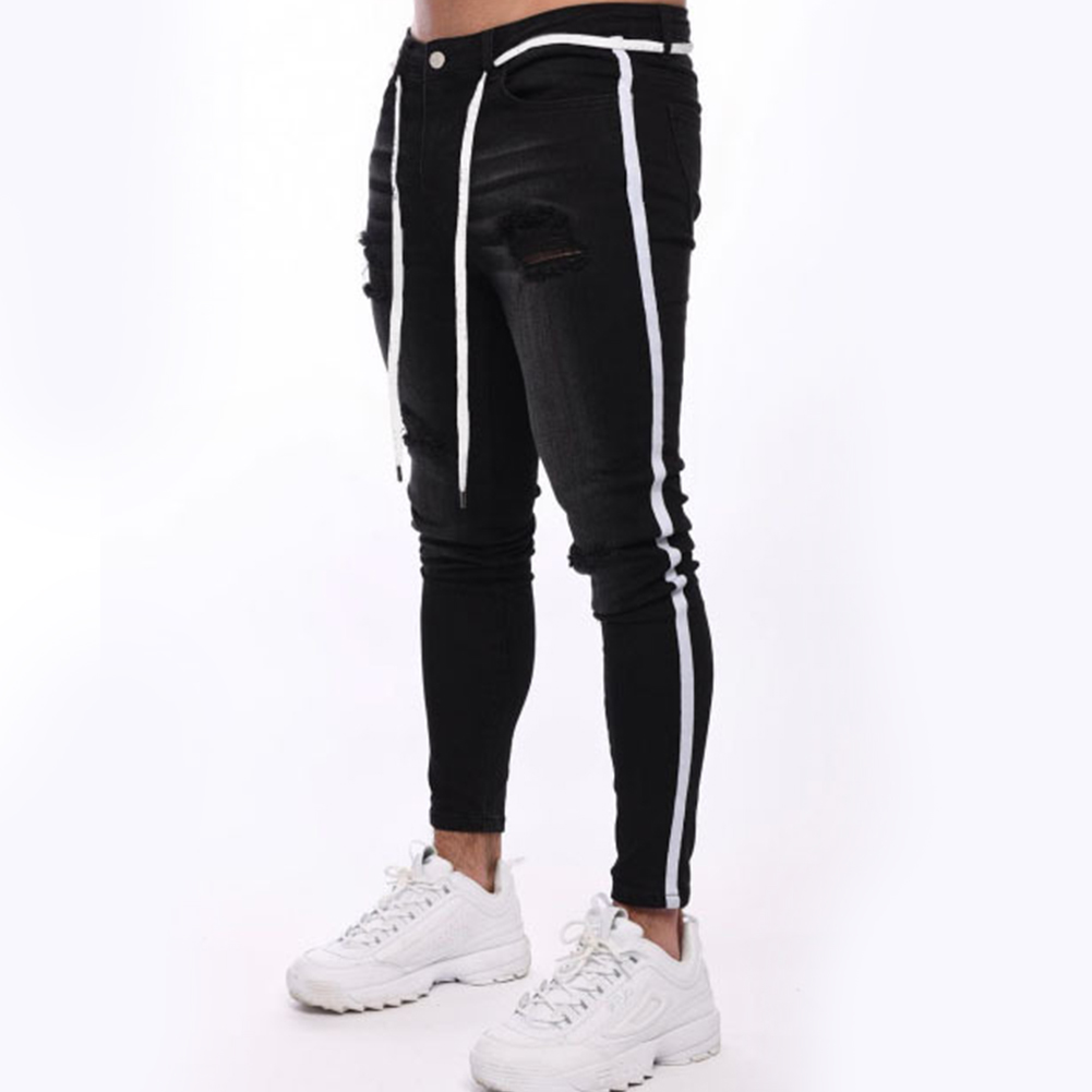 Men Splicing Broken Hole Slim Drawstring Jeans Pants LF1921 black_XXL