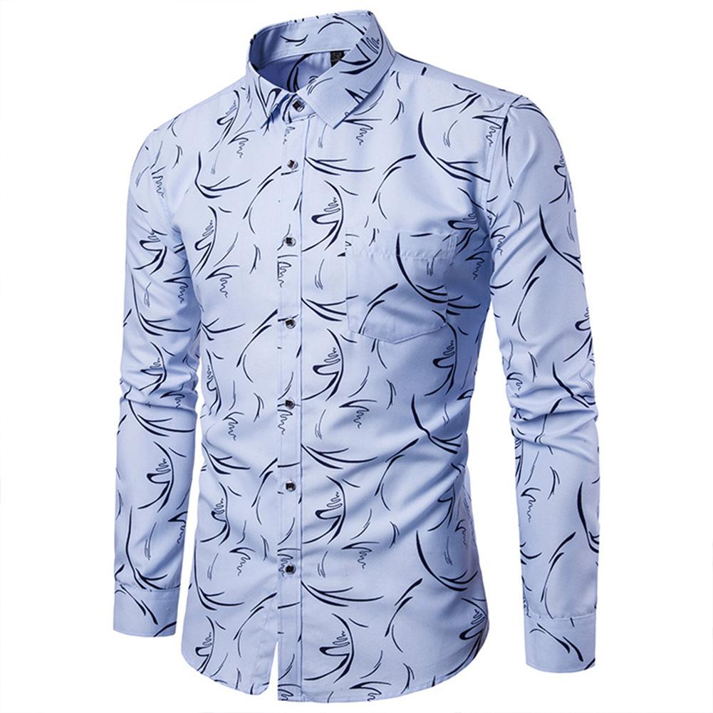 Men Fashion Slim Printing Long Sleeve Business Shirt Light blue_XL