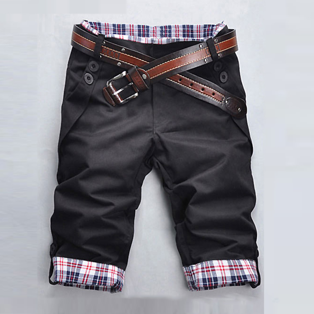 Men Fashion Casual Slim Cropped Trousers with Zipper black_L
