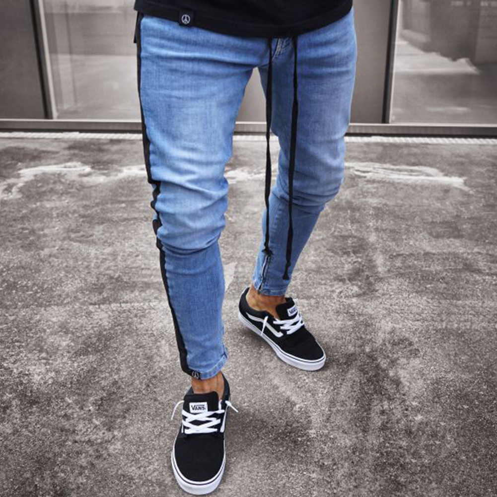 Men Women Fashion Zipper Splicing Broken Hole Jeans Pants Dark blue_XXXL