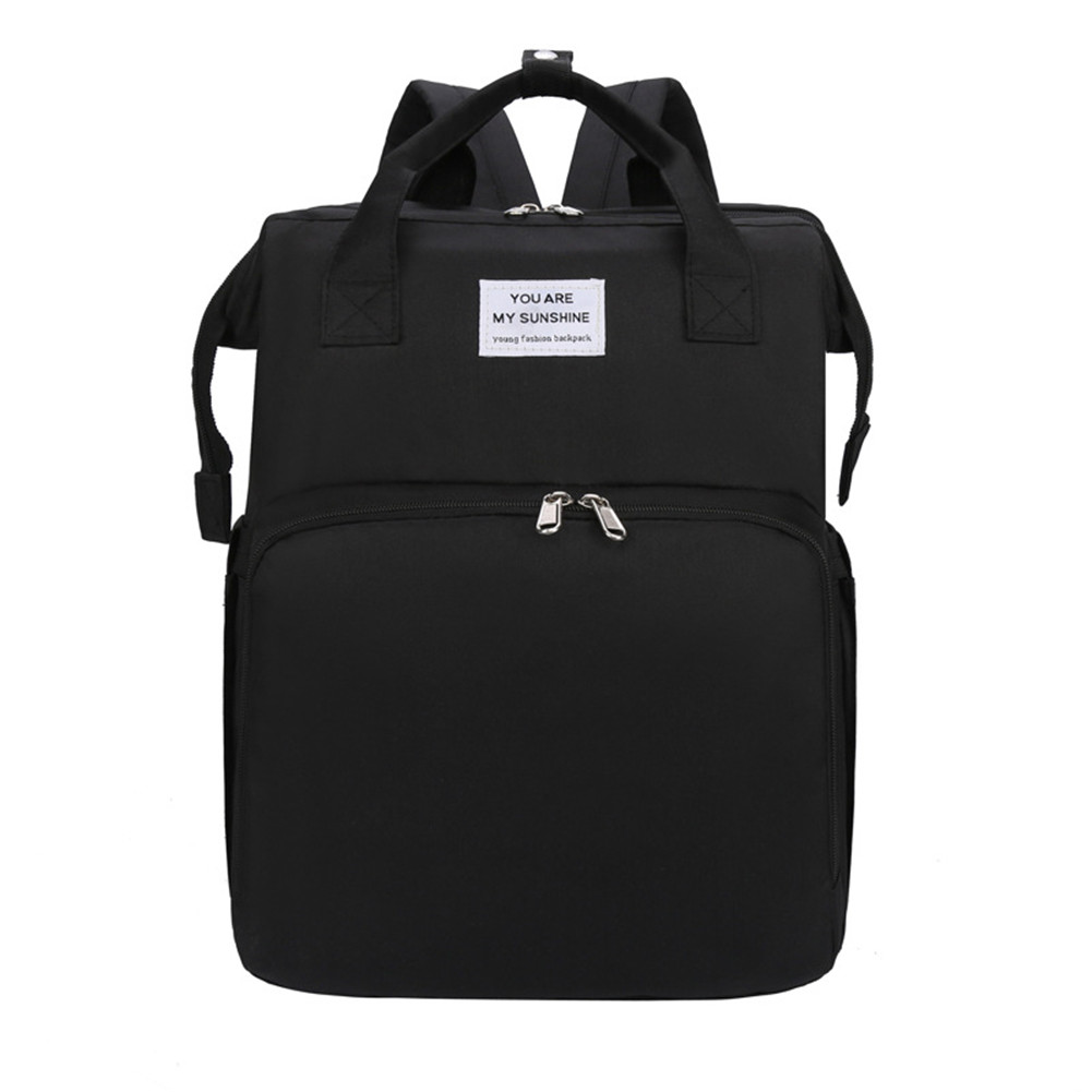 Mummy Bag Extendable Baby Folding Bed Multifunctional Backpack  black