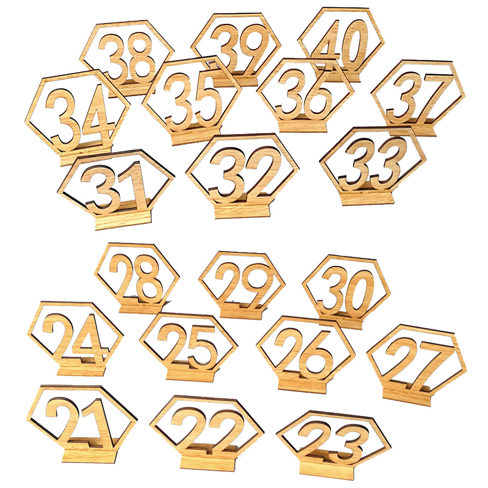 Number 21-40 Elegant Wooden Hollow-out Hexagon Table Cards Reception Seat Card for Party Event Organizing Decorating 20PCS/Set