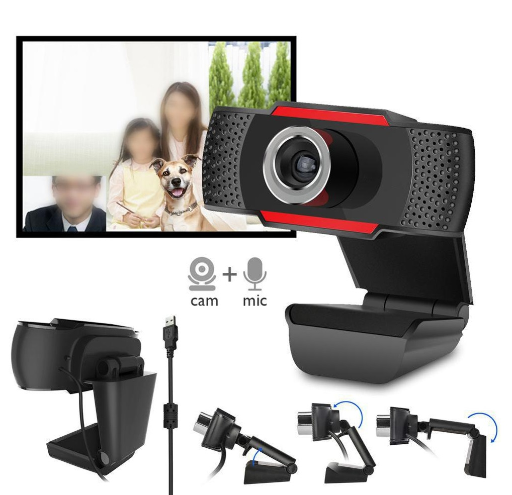 USB Web Camera HD Computer Camera Webcams Built-In Sound-absorbing Microphone Black 720P