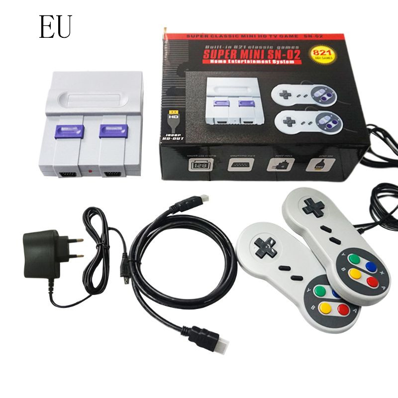 SNES HD TV Video Game Console Built-in 821 Games Dual Handheld Retro Wired Controller EU plug