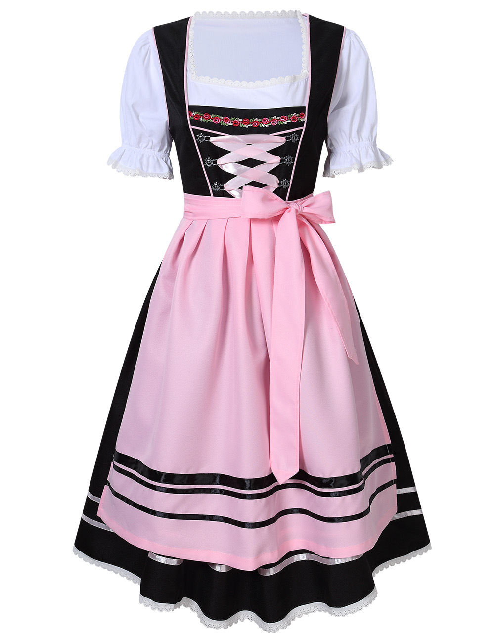 Female Bavarian Traditional Dirndl Dress Fastening Ties for Beer Festival  Pink/black_M