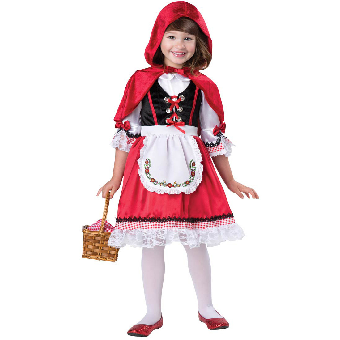 Girl Oktoberfest Lace Panel Dress Halloween Little Red Riding Hood Cosplay Costume red_M