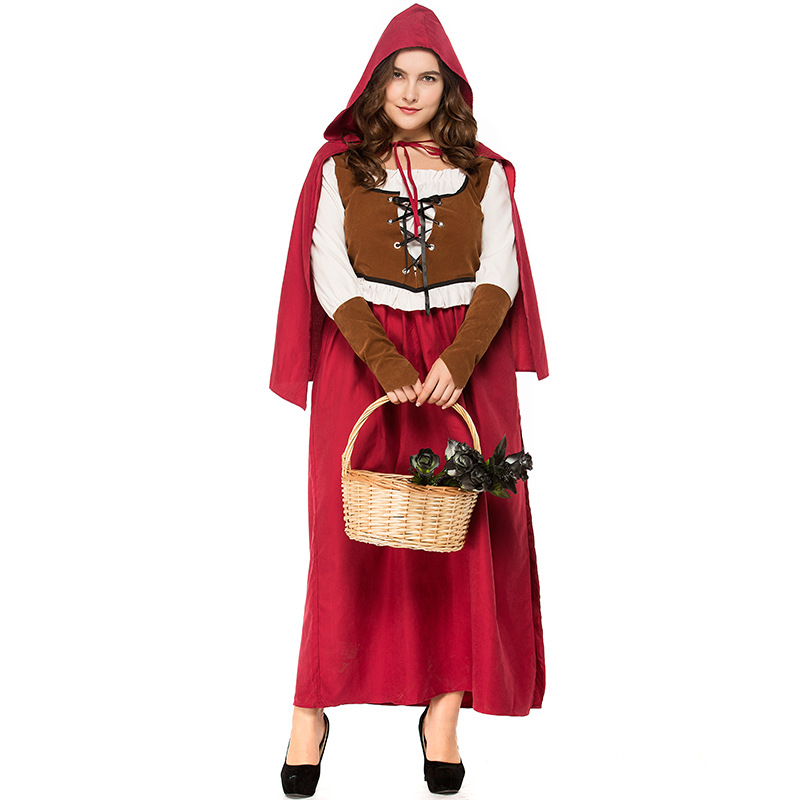 Woman Plus-size Retro Vest Dress Halloween Special Festival Costume red_S