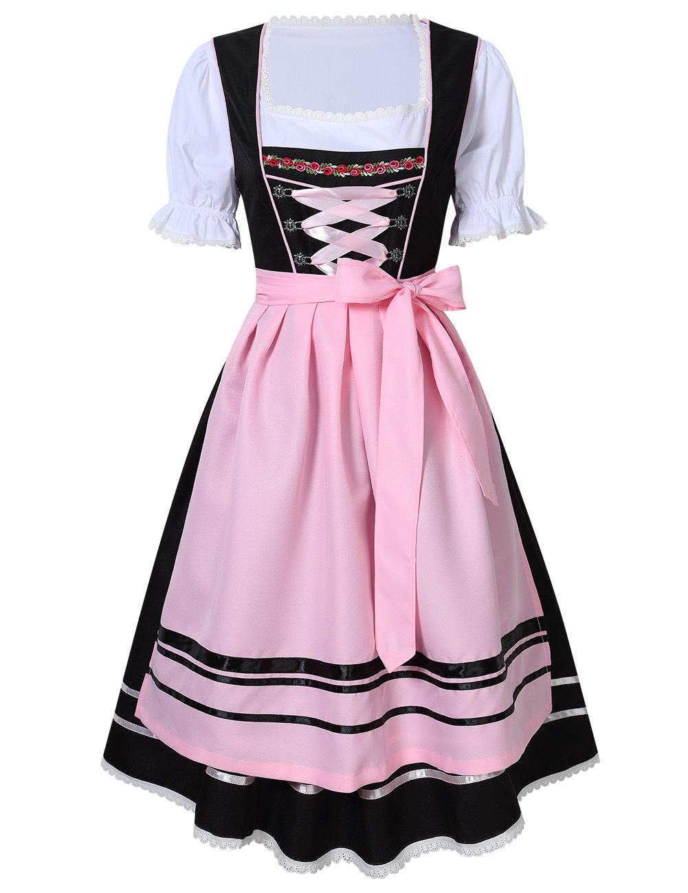 Female Bavarian Traditional Dirndl Dress Fastening Ties for Beer Festival  Pink/black_L