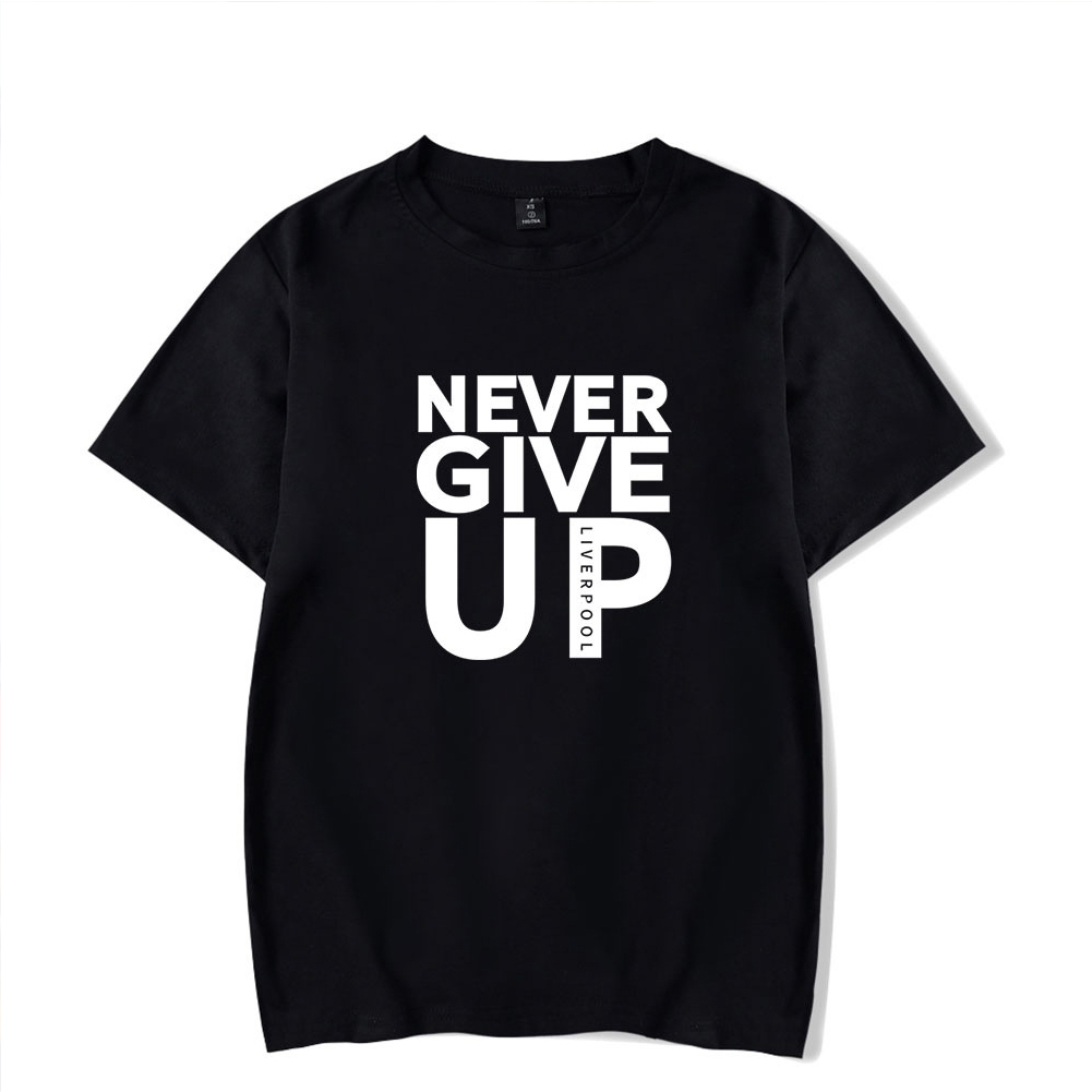 Men Women Summer Casual NEVER GIVE UP Letter Printing Short Sleeve Loose T-shirt black_XXS